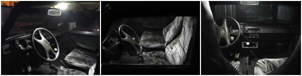 Вид в темноте установленной лампочки салона ВАЗ 2104, 05, 07